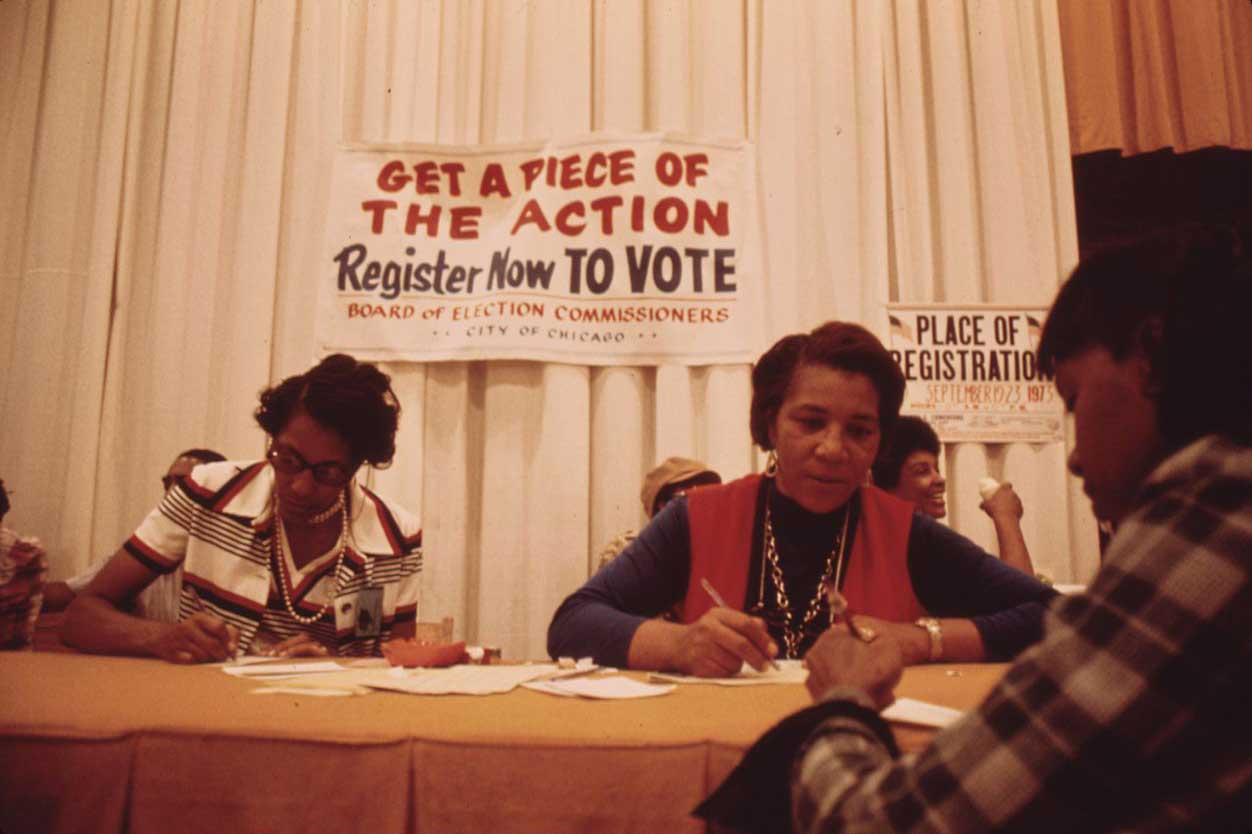 Voter registration at 1973 Black Expo in Chicago. Photo by John H. White