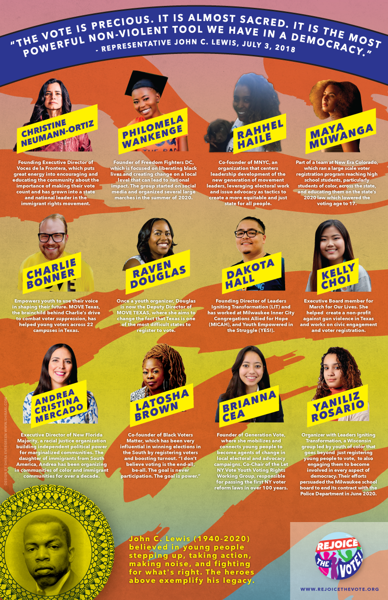 Download our Young Heroes poster, which is free to print and distribute. These twelve leaders are just a few of those working locally and nationally in the spirit of John C. Lewis.